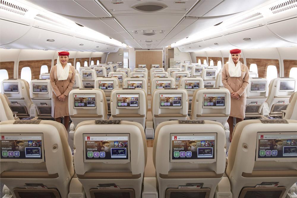 Салон премиум-эконом-класса в Airbus A380 Emirates. Фото: Emirates
